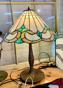 Stained Glass Green and Beige Lampshade with Metal Base