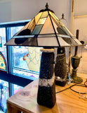 Stained Glass Deep Tones Geometric Lamp Shade and Stone Base