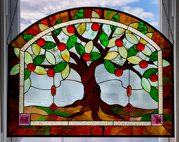 Traditional Stained Glass Apple Tree Panel