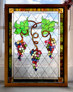 Stylized Grapes and Leaves Panel