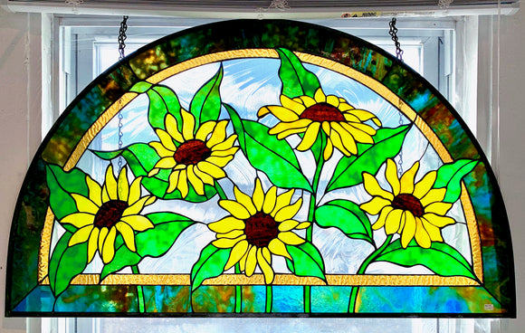 Stained Glass Sunflower Semi-circle