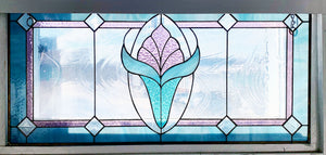 Wide Art Deco Panel, Pinks and Greens