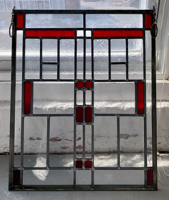Craftsman Stained Glass Panel with a Pop of Red