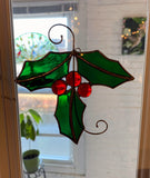 Christmas Holly Stained Glass Ornament