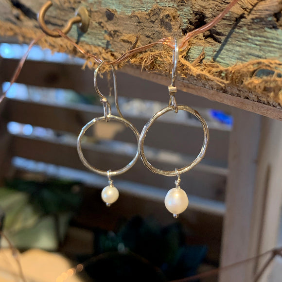 Sterling Silver Hoops with Freshwater Pearls