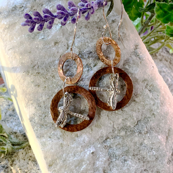 Copper Hoops with Dragonflies