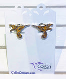 Hummingbird Studs with Gold Enamel