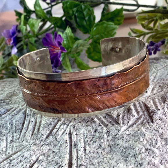 Silver and Copper Cuff Bracelet