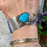 "Sterling ""River Rock"" and Turquoise Bracelet"