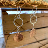 Hoop Earrings with Copper Discs