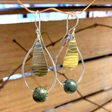 Sterling, Brass and Jade Earrings