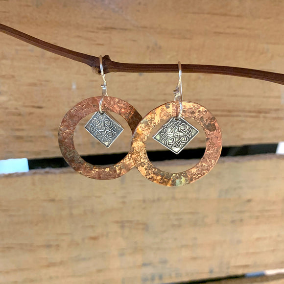 Sterling Silver Celtic and Copper Earrings