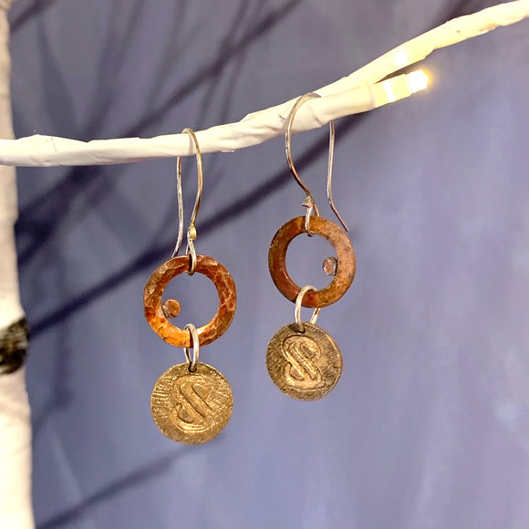 Sculpture Symposium Bronze and Copper Earrings