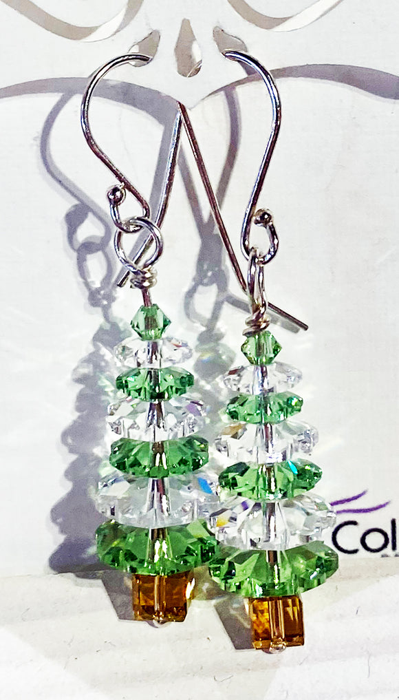 Christmas Tree Earrings - White and Light Green Swarovski Crystals
