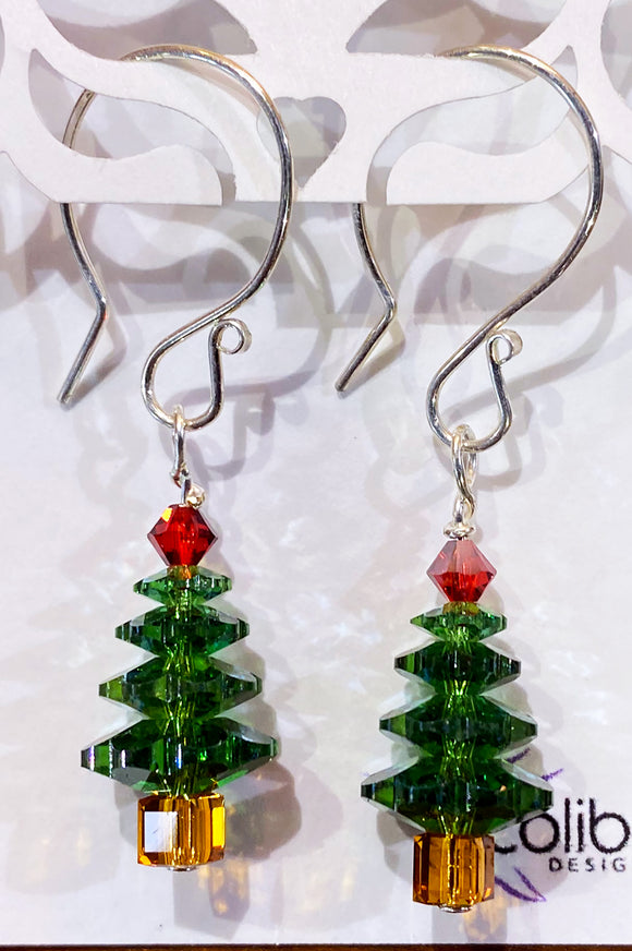 Christmas Earrings - Sterling and Medium Green Swarovski Crystals