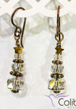 Christmas Tree Earrings - Bronze with Clear Crystals
