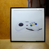 Retro Console:  Sega Saturn White Controller Framed Photograph