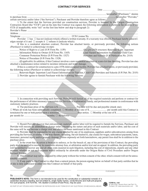 SN 1085 Contract for Services (OR)