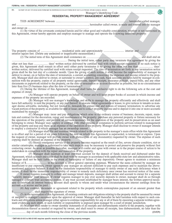 SN 1086 Property Management Agreement, Residential (OR)