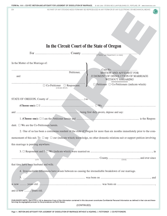 SN 1101 Motion and Affidavit for Judgment of Dissolution of Marriage Without a Hearing (OR)
