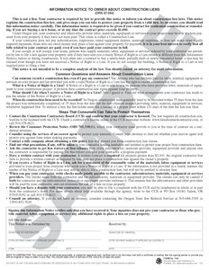 SN 1165 Information Notice to Owner About Construction Liens (OR)