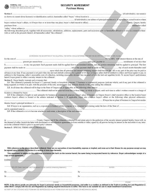 SN 1202 Security Agreement Purchase Money (OR)
