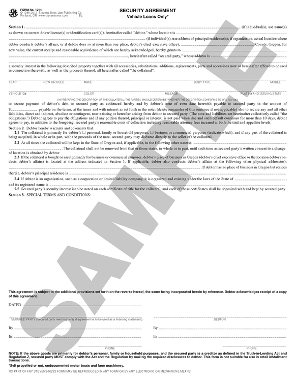 SN 1214 Security Agreement, Vehicle Loans only (OR)