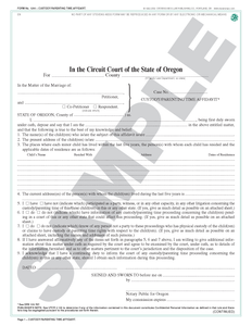 SN 1290 Custody/Parenting Time Affidavit (OR)