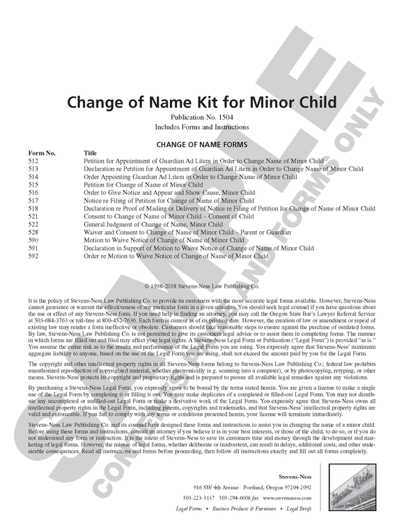 SN 1504 Change of Name Kit for Minor Child (OR)