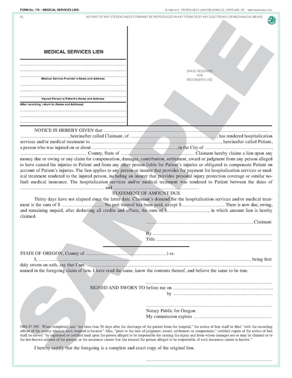 SN 178 Medical Services Lien (OR)