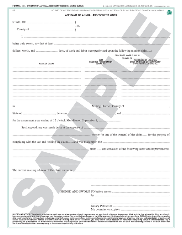 SN 189 Affidavit of Annual Assessment Work (General) (OR)