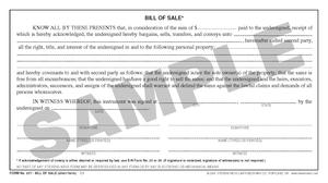 SN 237 Bill of Sale, Short Form (OR)