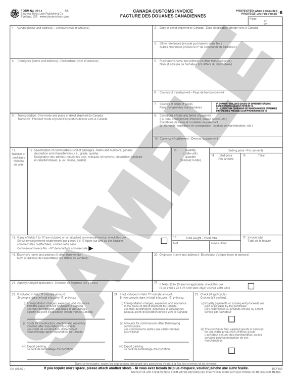 SN 251.1 Canada Customs Invoice (ANY STATE)