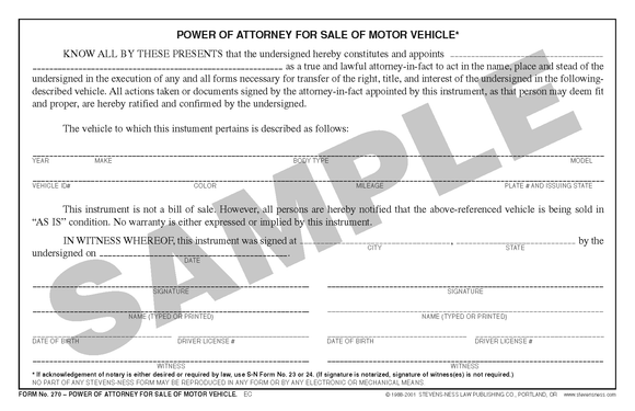 SN 270 Power of Attorney for Sale of Motor Vehicle (OR)