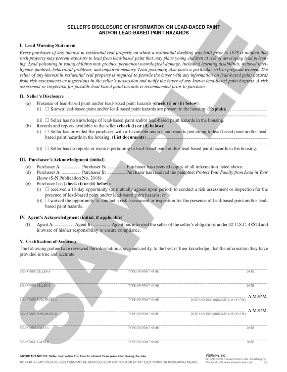 SN 503 Seller's Disclosure of Information on Lead-Based Paint and/or Lead-Based Paint Hazards (ANY STATE)