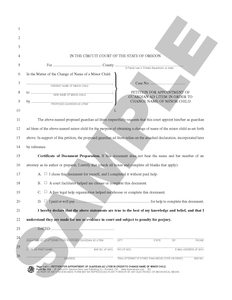 SN 512 Petition for Appointment of Guardian Ad Litem in Order to Change Name of Minor Child (OR)
