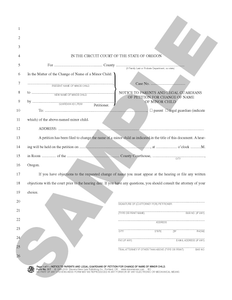 SN 517 Notice to Parents and Legal Guardians of Petition for Change of Name of Minor Child (OR)