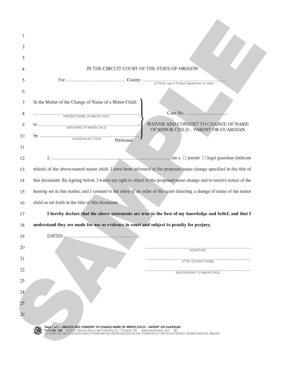 SN 528 Waiver and Consent to Change of Name of Minor Child -- Parent or Guardian (OR)