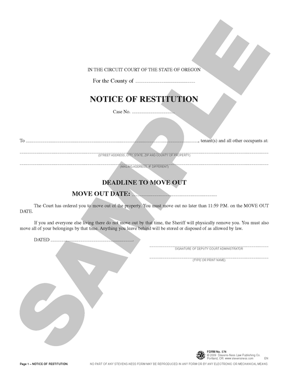 SN 574 Notice of Restitution (OR)