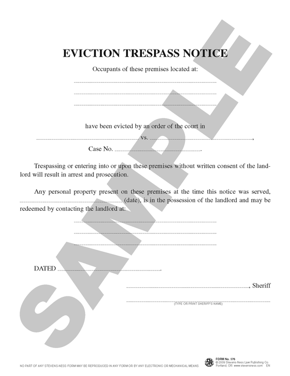 SN 576 Eviction Trespass Notice (OR)