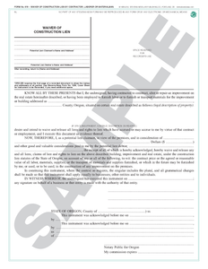 SN 619 Waiver of Construction Lien by Contractor, Laborer or Materialman (OR)