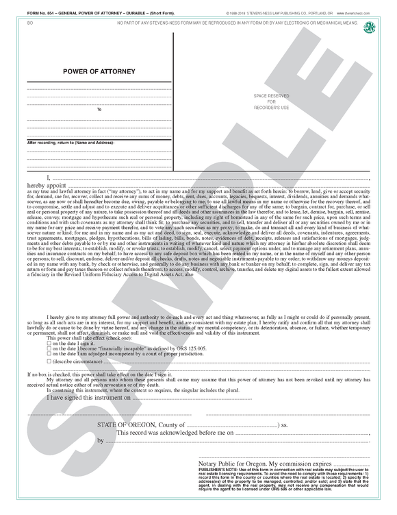 SN 654 General Power of Attorney, Durable (Short Form) (OR)
