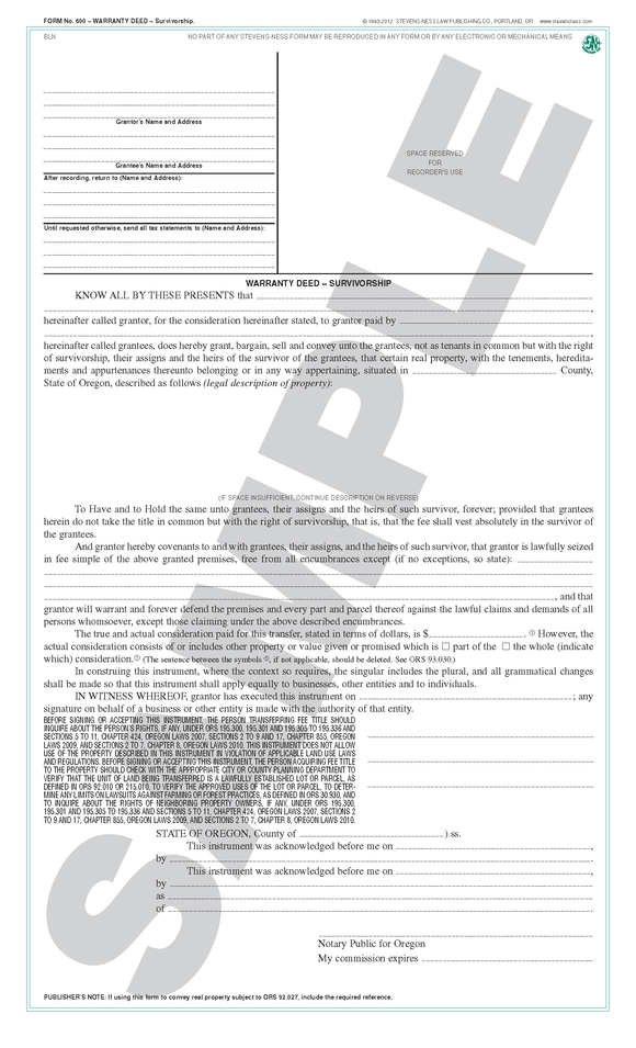 SN 690 Warranty Deed, Survivorship (OR)