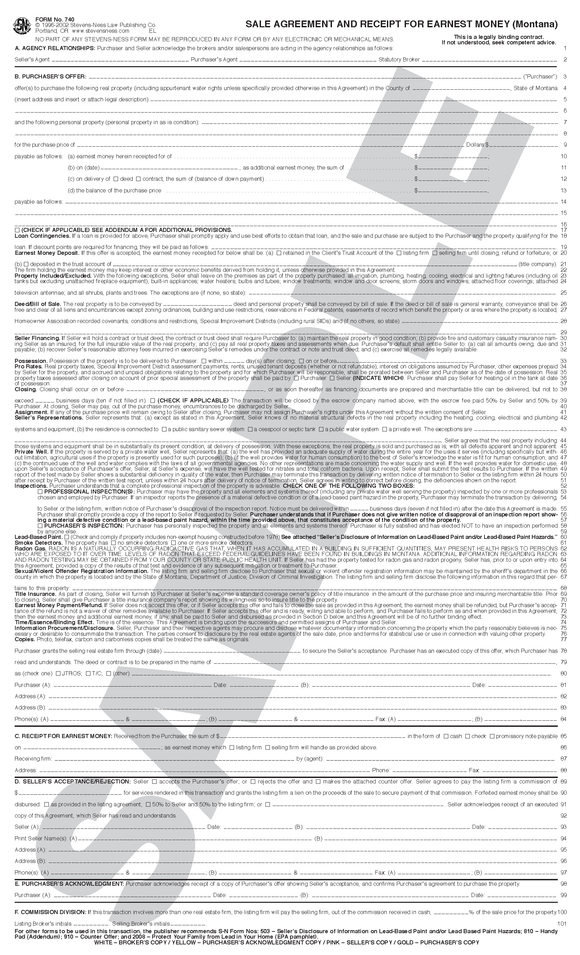 SN 740 Sale Agreement and Receipt for Earnest Money, Montana (MT)