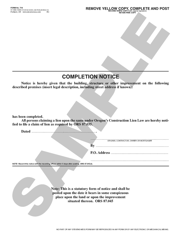 SN 748 Completion Notice with Affidavit, for Posting (OR)