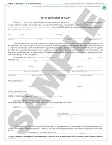 SN 80 Motor Vehicle Bill of Sale (with affidavit) (OR)