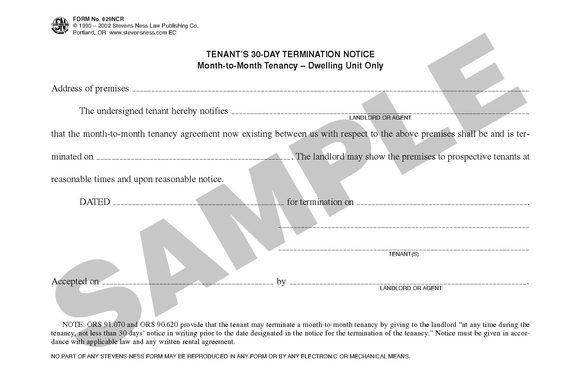 SN 829NCR Tenant's 30-Day Termination Notice, Month-to-Month Tenancy, Dwelling Unit Only (OR)