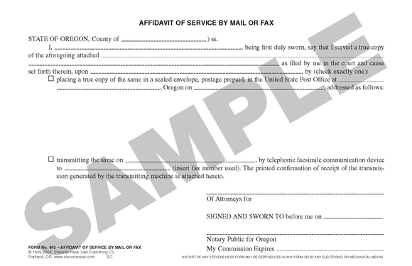 SN 842 Affidavit of Service by Mail or Fax (OR)