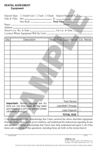 SN 843 Rental Agreement, Equipment (OR)