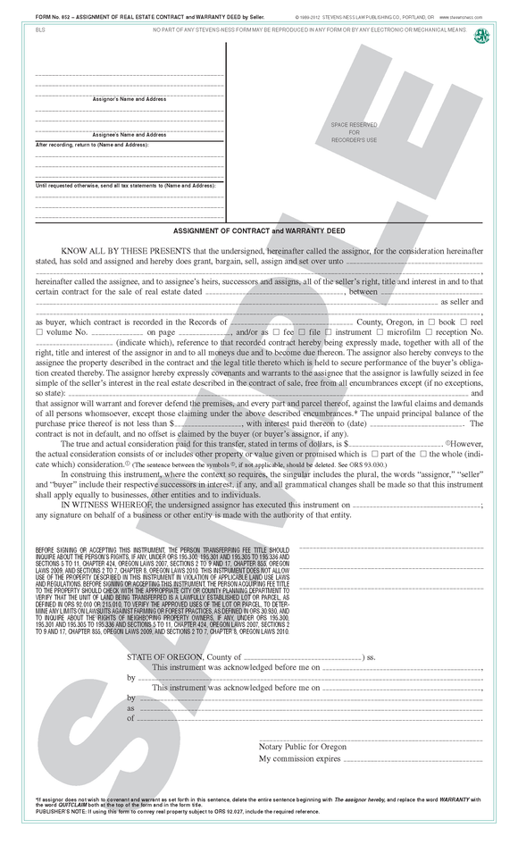 SN 852 Assignment of Real Estate Contract by Seller, and Warranty Deed (OR)